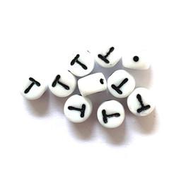 Cuenta DQ T. Letter alfabet kraal glas wit met zwarte opdruk 5x6mm