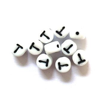 Cuenta DQ T. Letter kraal glas wit met zwarte opdruk 5x6mm