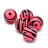 Cuenta DQ 30mm Holzperle runde Streifen drucken rosa