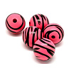 Cuenta DQ 30mm wooden bead round stripes print pink