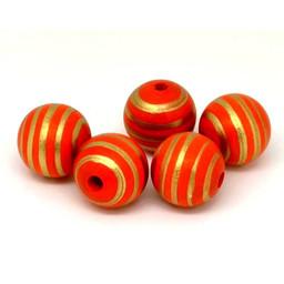 Cuenta DQ 20mm houten kraal rond streepjes print oranje