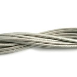 jolie lederband  2mm rund weis metalic 2 meter