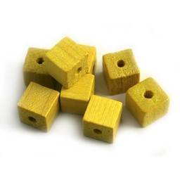 Cuenta DQ 8x8 wooden bead square yellow
