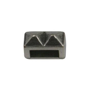 Cuenta DQ Metallic-Leder Schieber 6mm silbernen Nieten