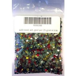 Niiniix ss10 hotfix rhinestones red white yellow per 25 gram