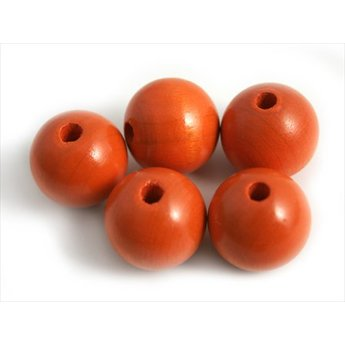 Cuenta DQ 15mm wooden bead round orange