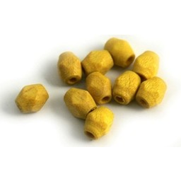 Cuenta DQ 6x5mm wooden bead faceted yellow