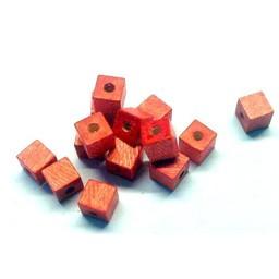 Cuenta DQ 6mm houten kraal vierkant licht rood
