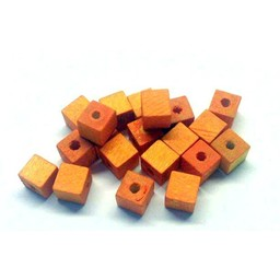 Cuenta DQ 6mm wood bead square light orange