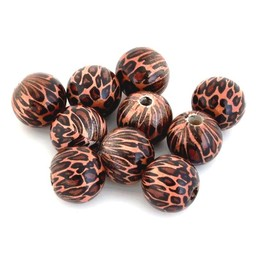 Cuenta DQ 16mm houten kraal rond tijgerprint bruin-oranje per 10 stuks