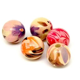 Cuenta DQ 20mm wooden bead round print brown-orange-pink