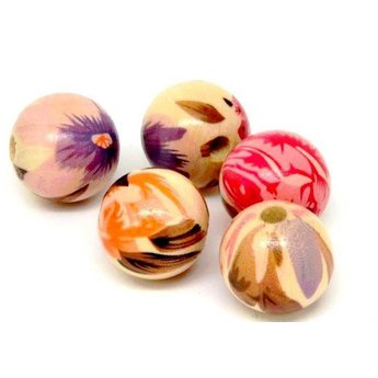Cuenta DQ 20mm wooden bead round print brown-orange-pink