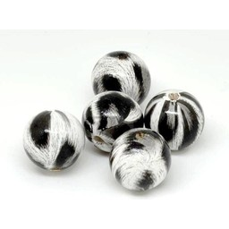 Cuenta DQ 20mm wooden bead round print black-white-gray per 5 pieces