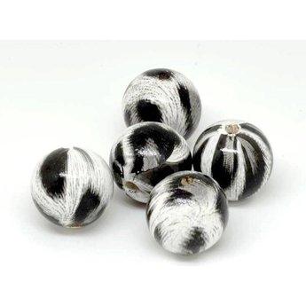 Cuenta DQ 20mm houten kraal rond print zwart-wit-grijs per 5 stuks