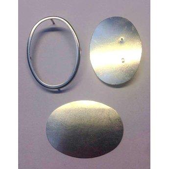 Cuenta DQ zijdeschilder broche met rand 53x48mm zilverkleur