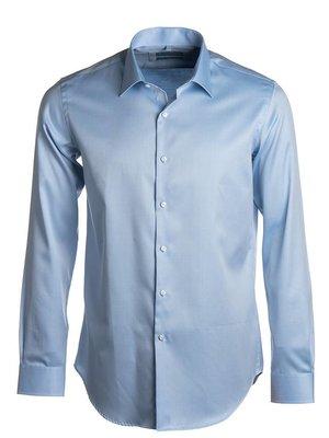 Lichtblauw slim fit hemd 2-ply twill - easy care