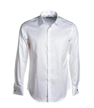 wit slim hemd 2-ply twill met dubbele manchet