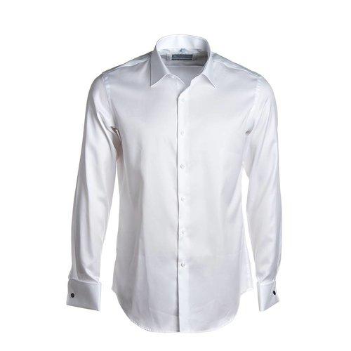 wit twill hemd 2-ply met dubbele manchet