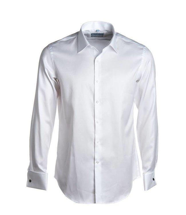 wit hemd 2-ply twill met dubbele manchet