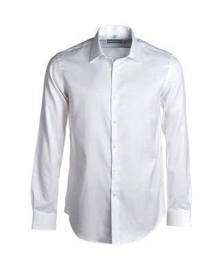 FORMEN wit hemd in 2-ply twill, regular fit