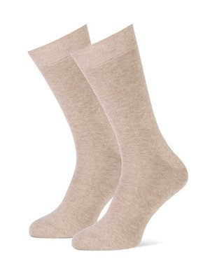 2-pack heren sokken effen taupe