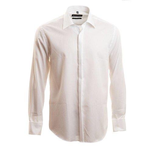 wit hemd met verborgen knopenrij en Italiaanse kraag