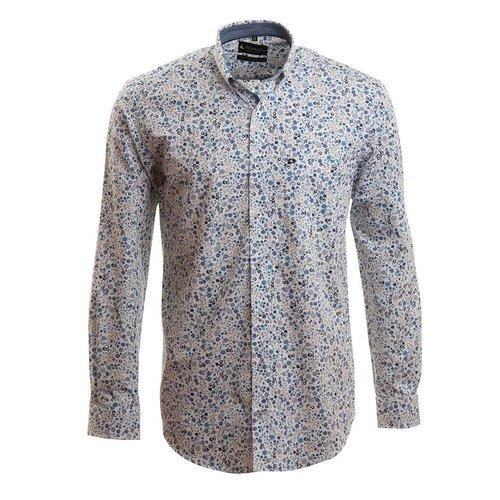 hemd met vrolijk floraal motief in blauwtinten