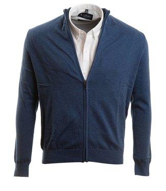 jeansblauwe trui met rits