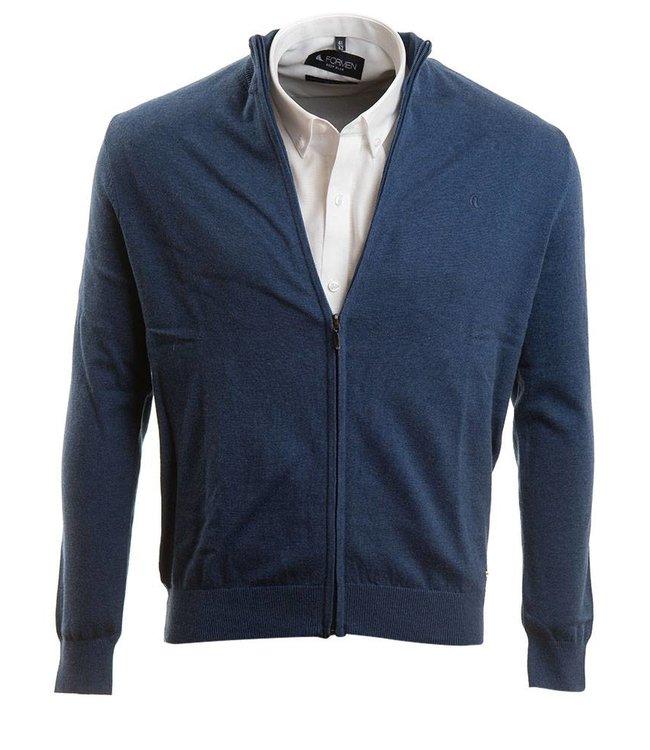 jeansblauwe cardigan met rits