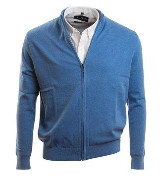 blauwe, casual cardigan met rits