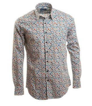 fleurig slim fit hemd, getailleerde pasvorm