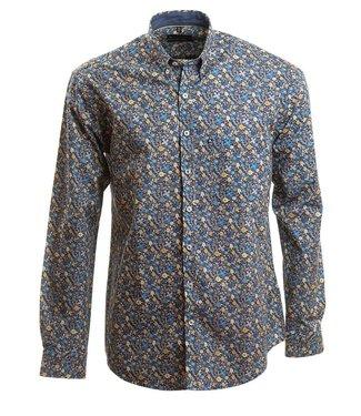 blauw hemd met fleurig motief en knoopjeskraag