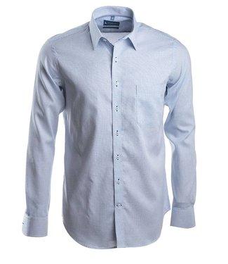 slim fit hemd met fijne ruiten in zacht blauw