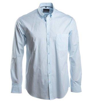 popeline hemd met fris, licht turquoise motief
