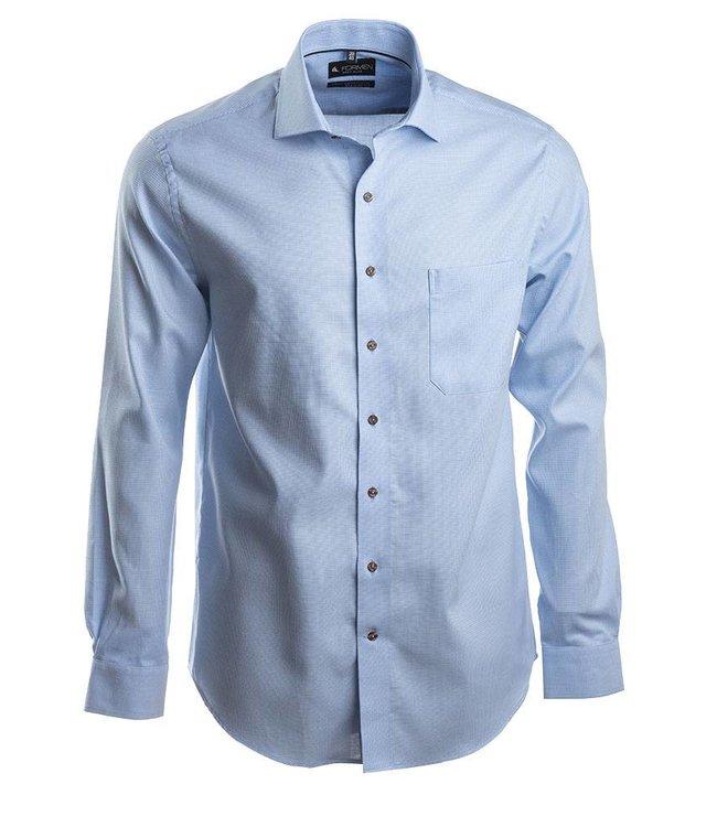 knap blauw hemd met aparte knopen