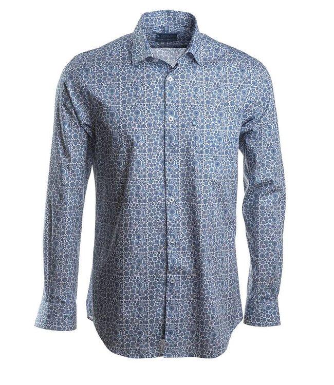 poplin hemd met blauw motief, slim fit