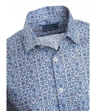 FORMEN poplin hemd met blauw motief - SLIM