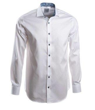 luxueus wit hemd met Italiaanse kraag, slim fit