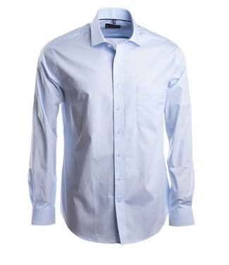 knap hemd met lichtblauw motief en Italiaanse kraag