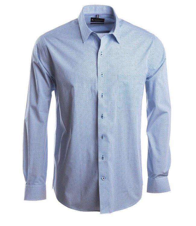 stijlvol hemd met print in koningsblauw