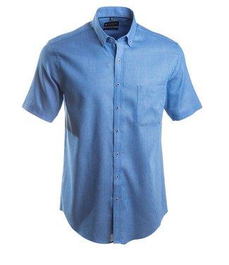 casual blauw hemd met korte mouwen