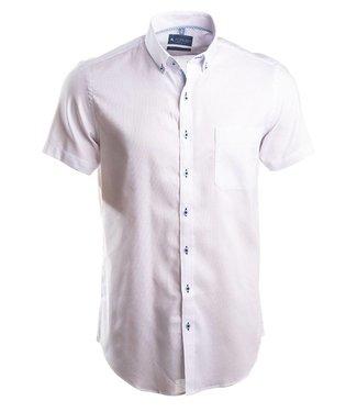 effen wit slim fit hemd met korte mouwen