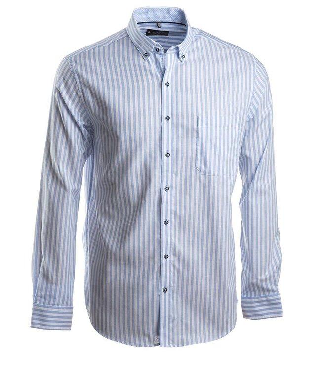 classy wit en blauw gestreept hemd