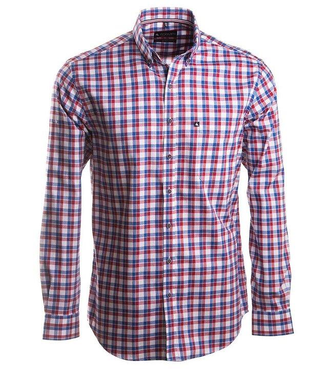 sportief geruit hemd met koraalrood accent