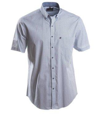 wit popeline hemd met subtiel blauw motief