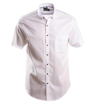 faux uni wit hemd met knoopjeskraag