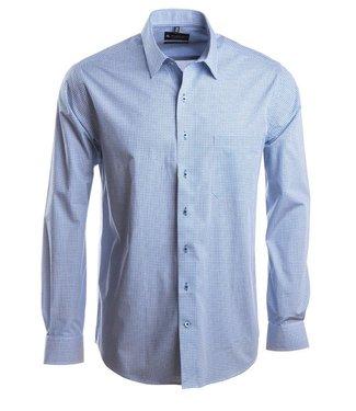 hemd met keurig motief in koningsblauw