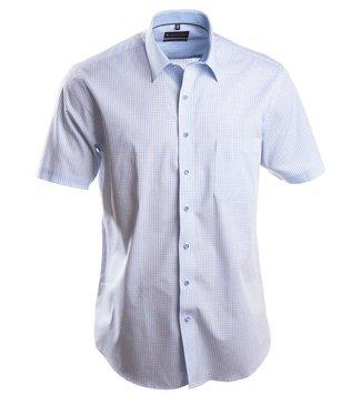 lichtblauw geruit hemd met korte mouwen
