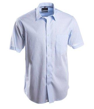 lichtblauw gestreept hemd met korte mouwen