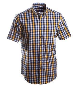 blauw vichy geruit hemd met geel accent